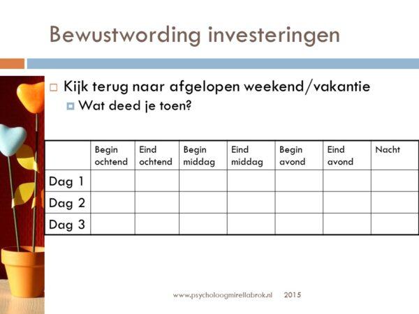 """Werkblad investeringen uit de training """"Meer tijd voor elkaar"""""""
